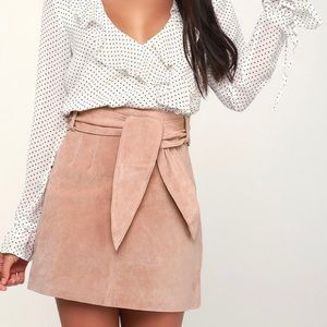 NWT Blank NYC blush pink suede leather skirt